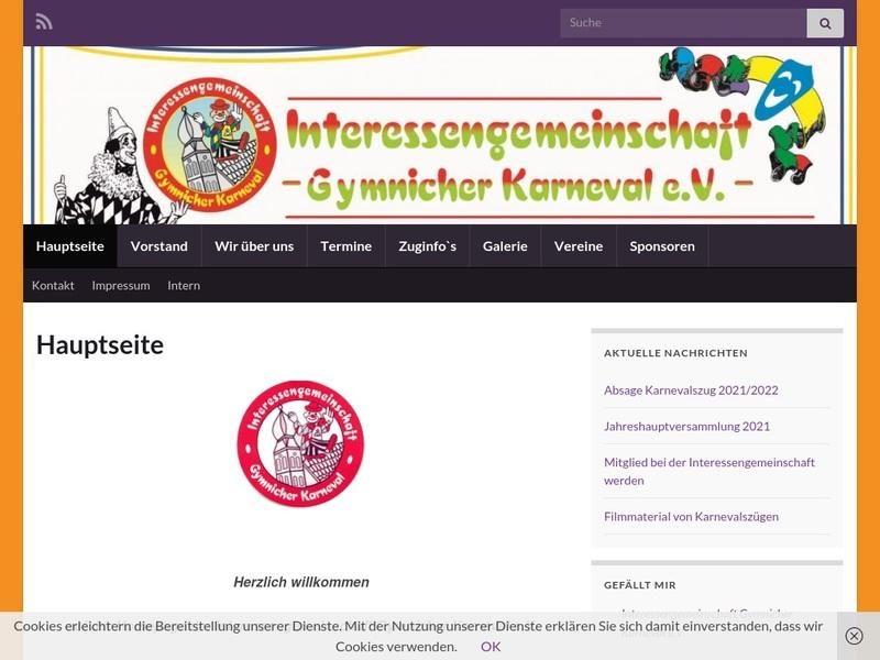 Screenshot von http://www.gymnicher-karneval.de/