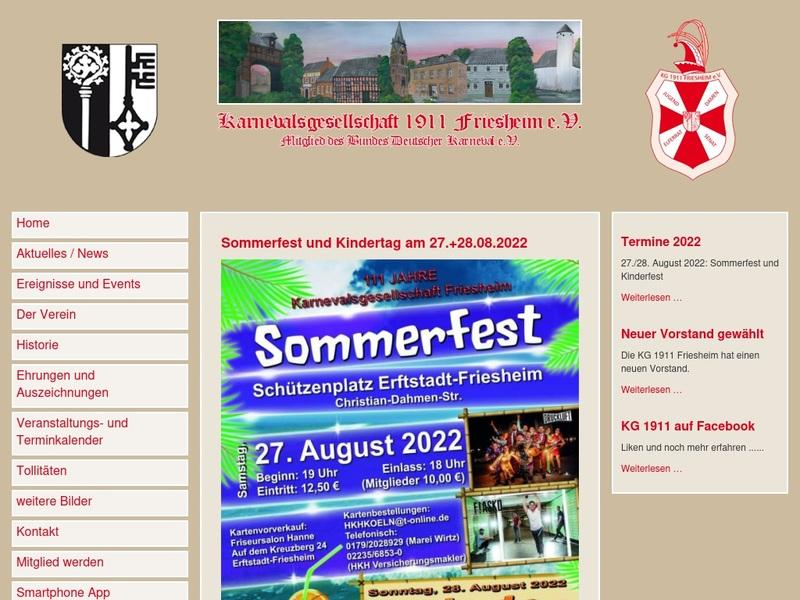 Screenshot von http://www.kg-friesheim1911.de